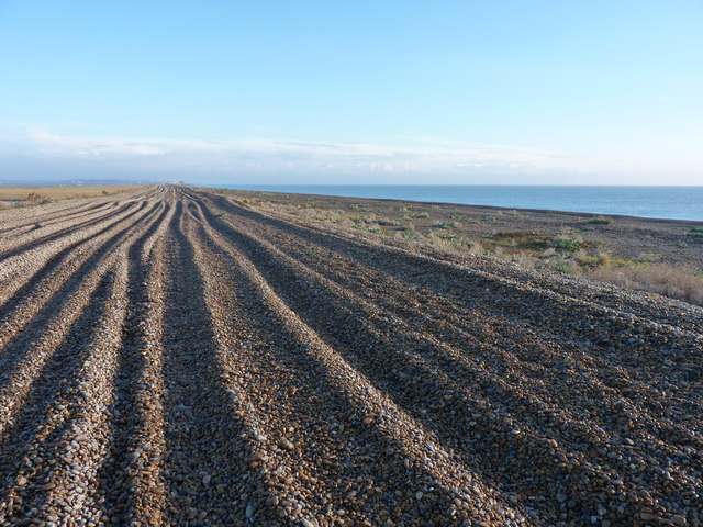 Vehicle tracks on Orford Ness