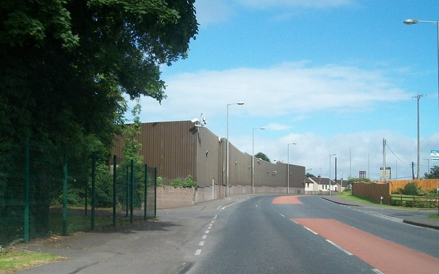 The steel protection fence of Lisnaskea's PSNI station