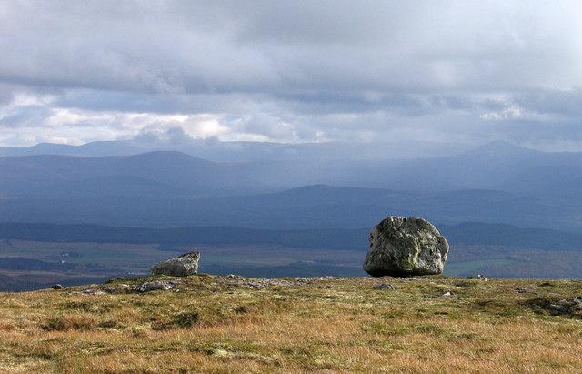 Perched boulders west of Cnapan a' Choire Odair Mhòir