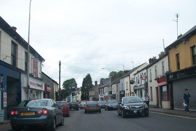 View northwards along Lisnaskea's Main Street