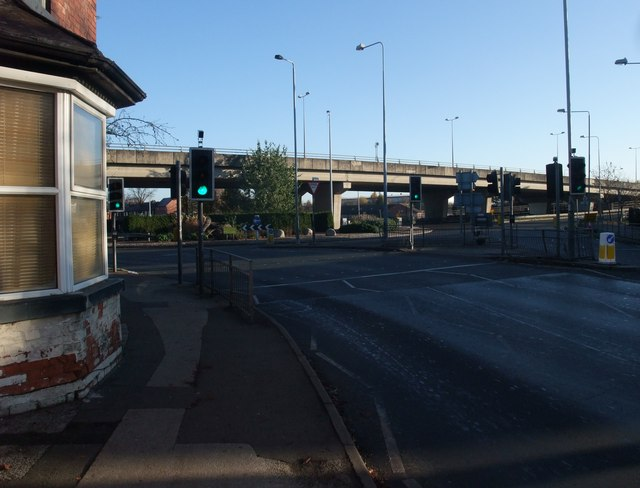 Beeston Road (A6005) entering Dunkirk Roundabout below Clifton Boulevard (A52)