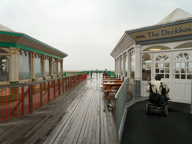 End of the pier in the rain