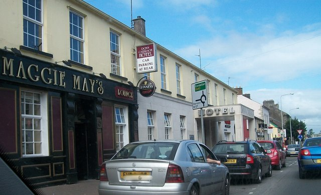 Maggie Mays Lounge and Donn Carragh Hotel on Main Street, Lisnaskea