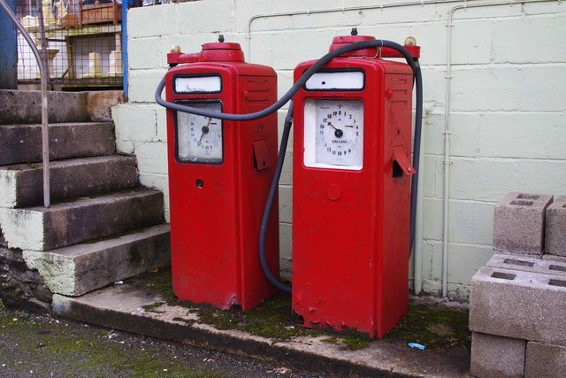Two old petrol pumps, Larkey Lane, Knighton, Powys