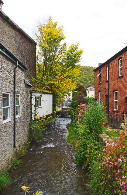 Brook viewed from Broad Street, Knighton, Powys