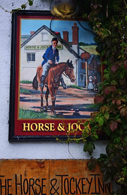 The Horse & Jockey Inn (2) - sign, Wylcwm Street, Knighton, Powys