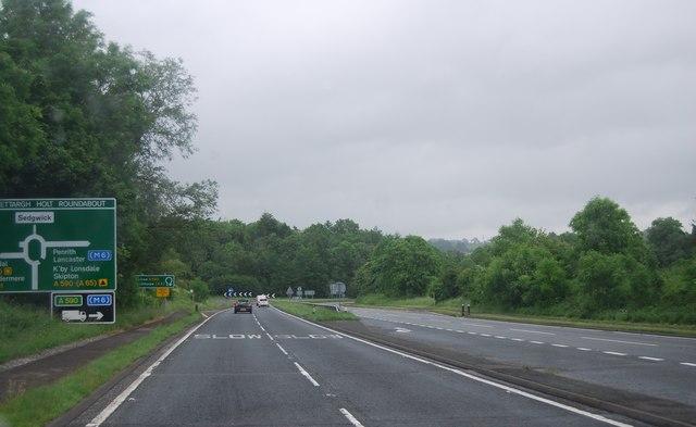 A590 approaching roundabout