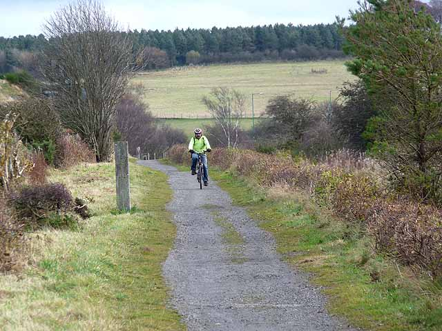 Cyclist on the Consett and Sunderland path near Eastcastle