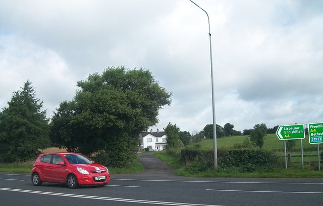 The A4 (Belfast) road at its junction with the A34  at Gardiner's Cross Roads