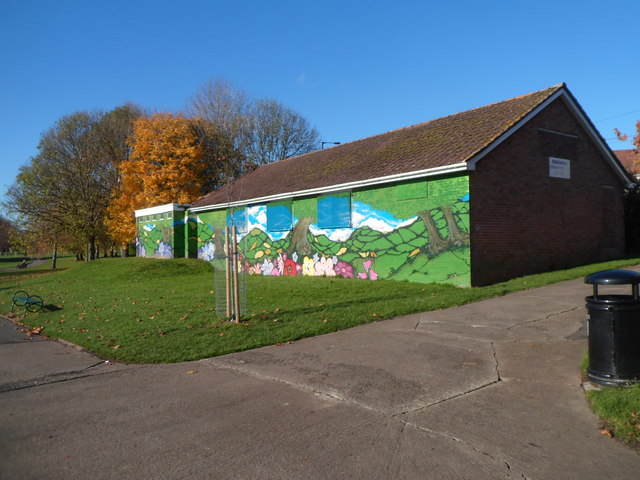 Colourful south side of Redcatch Community Centre, Knowle, Bristol
