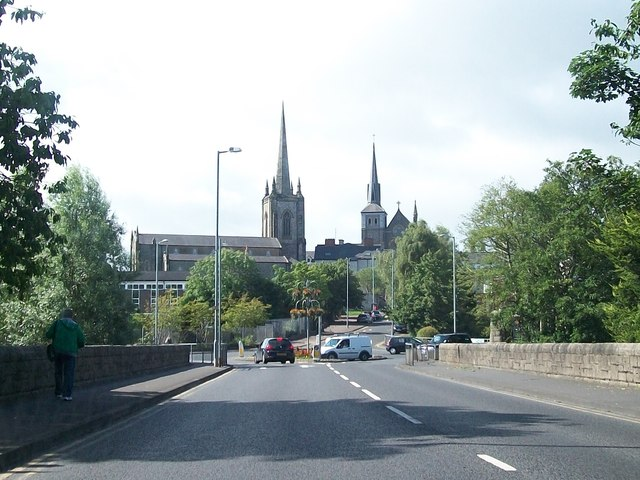 The twin spires of St Macartin's CoI Cathedral and  St Michael's Catholic Church
