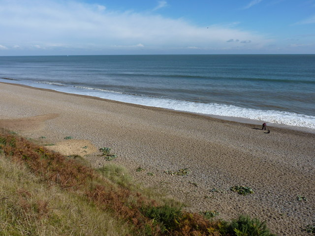 Sizewell Beach from the cliff above