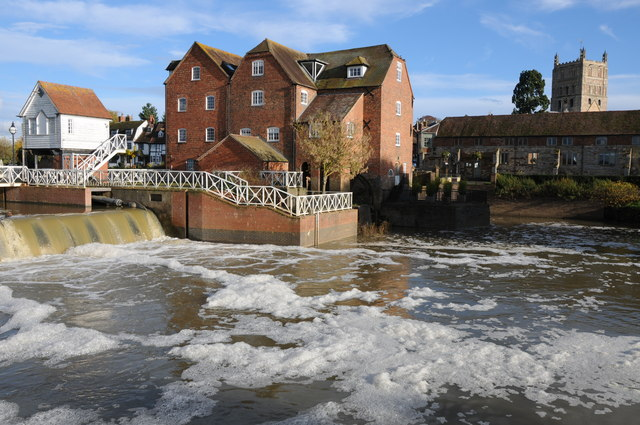 Abbey Mill and the tower of Tewkesbury Abbey