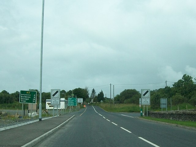 Where the A46 becomes the N3 at Belleek
