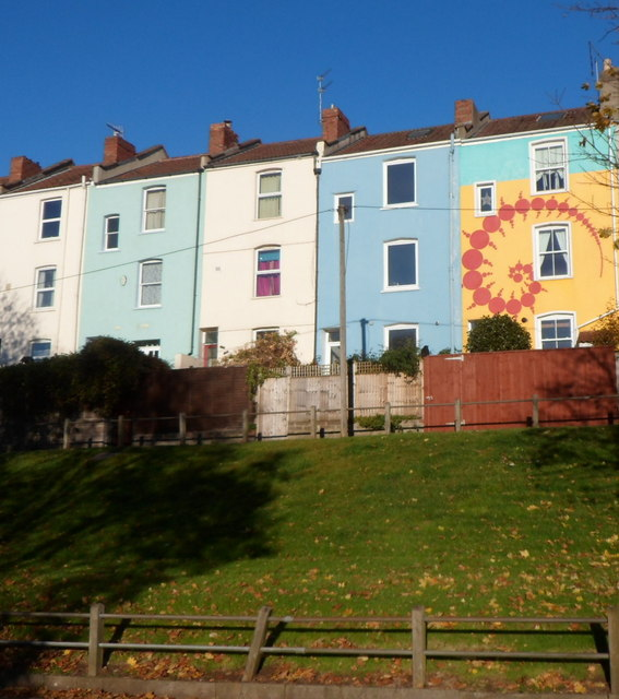 Colourful house back walls, St Luke's Crescent, Bristol