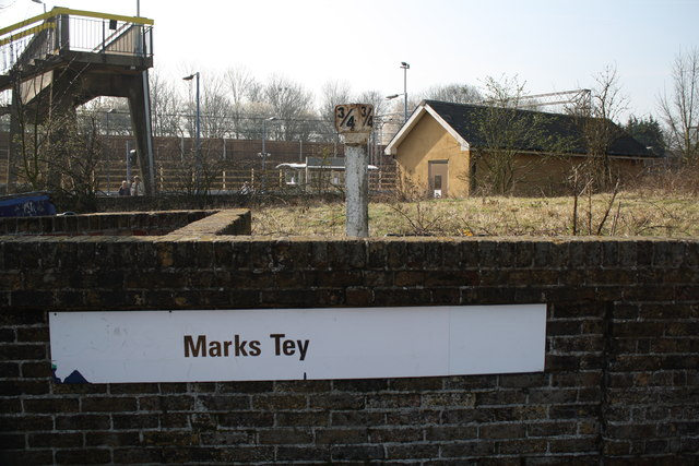 Milepost at Marks Tey station