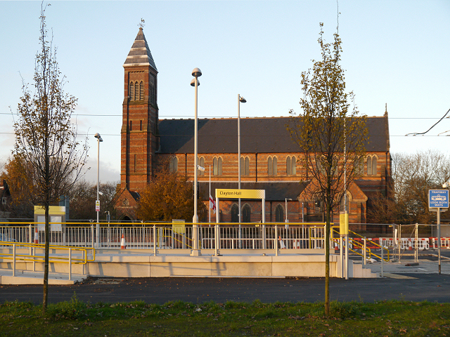 Clayton Hall Tram Station and St Cross Parish Church