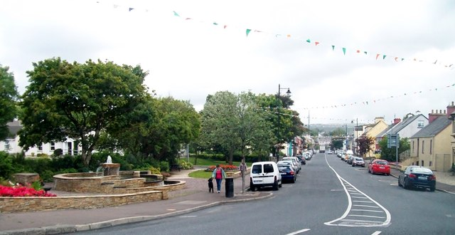 Fountain and gardens at the northern end of Glenties' Main Street