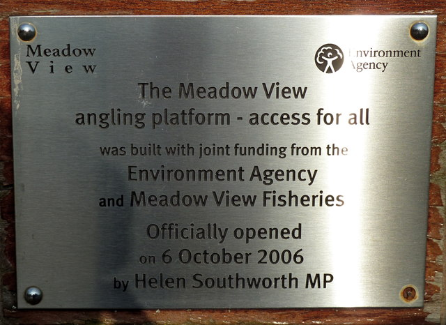 Government plaque at Meadow View Fisheries