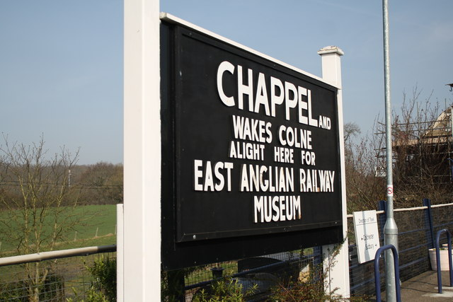 Chappel and Wakes Colne station nameboard