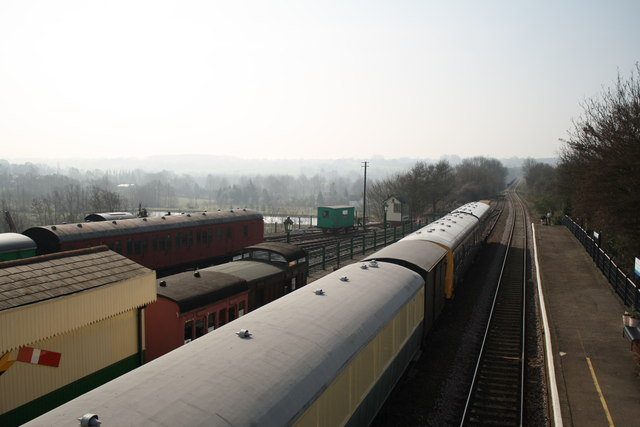 View south from Chappel and Wakes Colne station footbridge