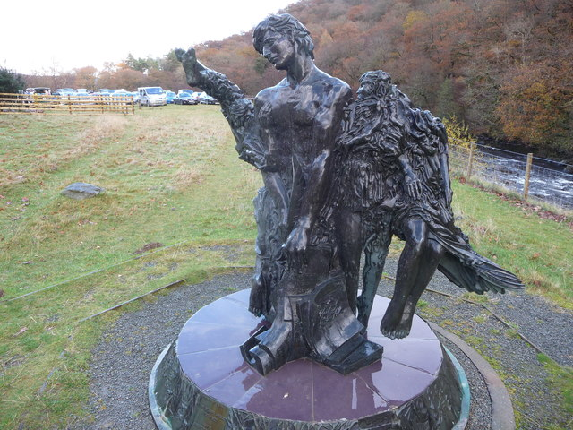 Riverside sculpture at the Elan Valley Visitor Centre