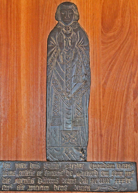 Brass to William Styrlay, St Peter's church, North Rauceby