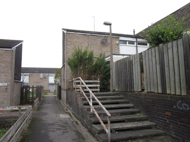 Steps leading to Ealing Close, Ings Road Estate