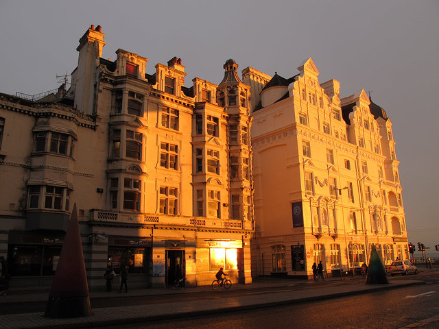 Sunlit buildings on West street