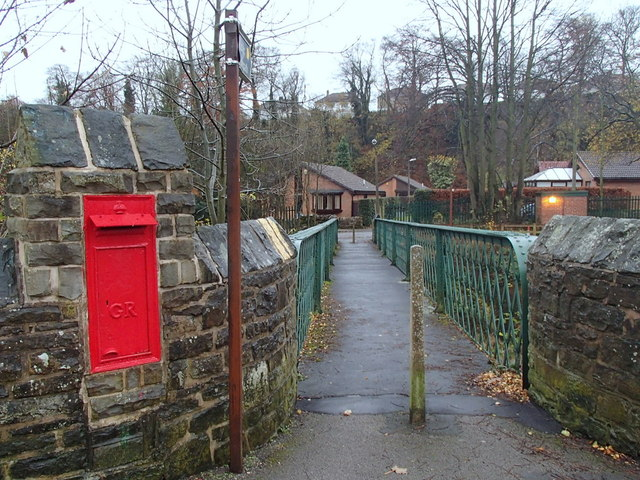 Railway footbridge and post box
