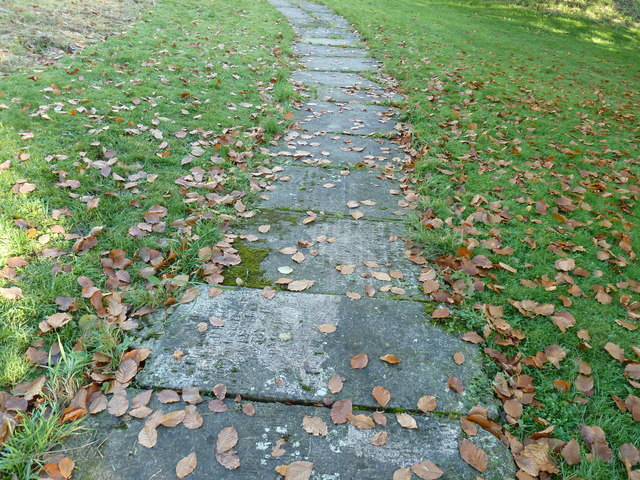 St Mary church path made of old gravestones