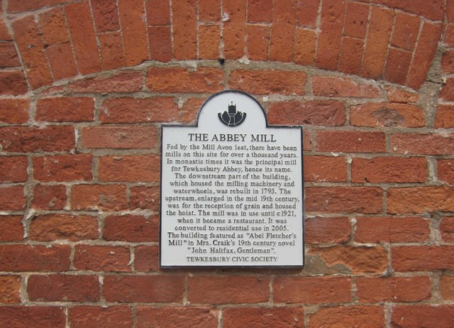 Abbey Mill (3) - plaque, Mill Street, Tewkesbury