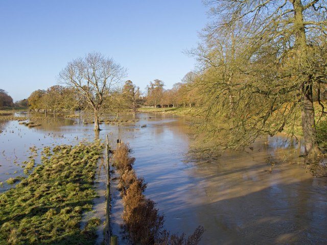 River Dene in flood, Charlecote Park