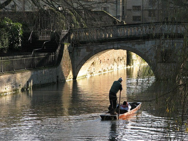 Punting towards Clare Bridge