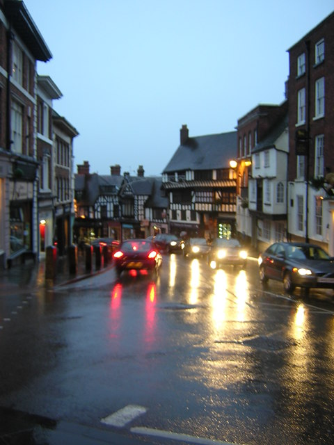 Shrewsbury: Wyle Cop, on a dark rainy morning