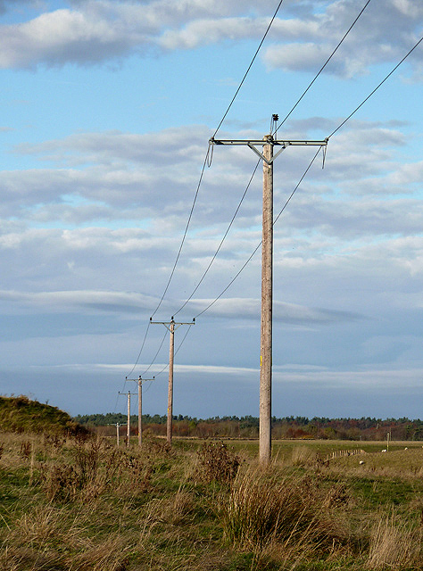 Overhead power lines at Falahill