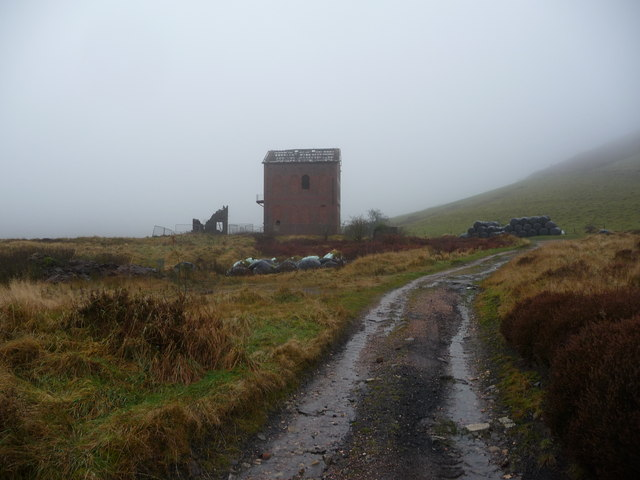 Derelict colliery building near Talywain