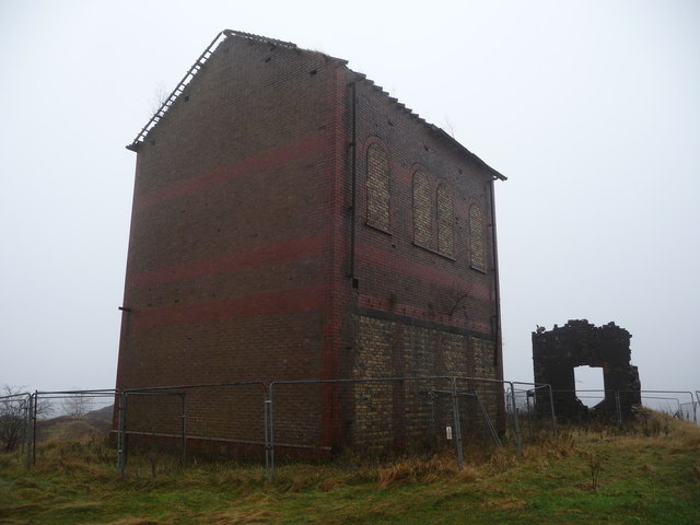 Ruined colliery building in Cwm Sychan