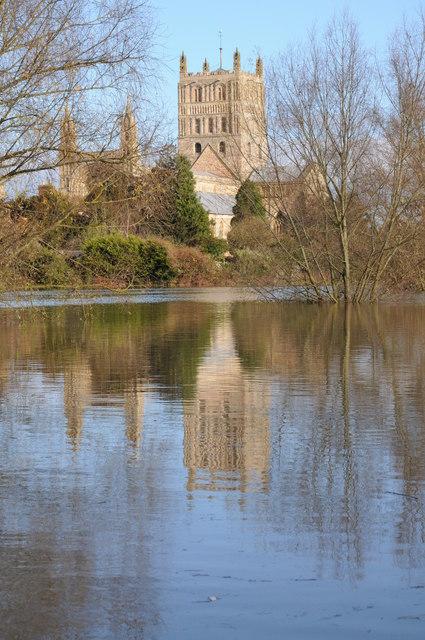 Tewkesbury Abbey reflected in the flood