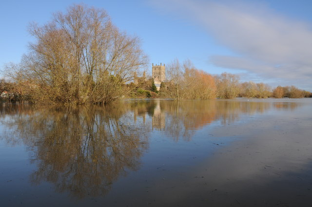 Tewkesbury Abbey reflected in floodwater