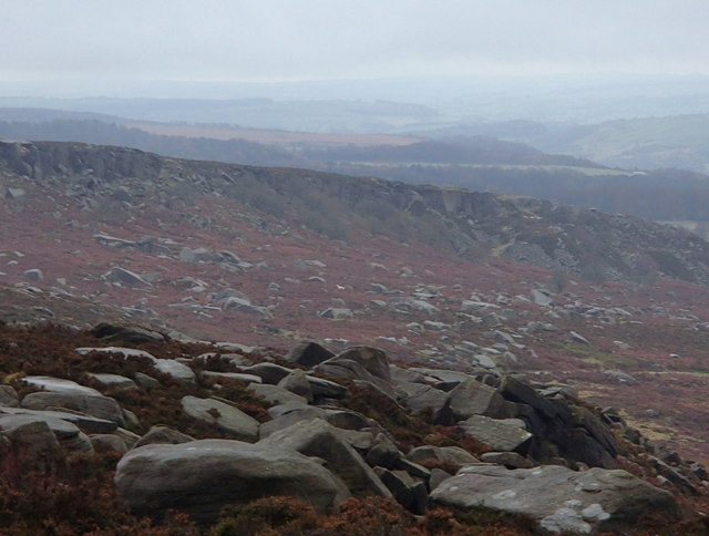Burbage Rocks and view south