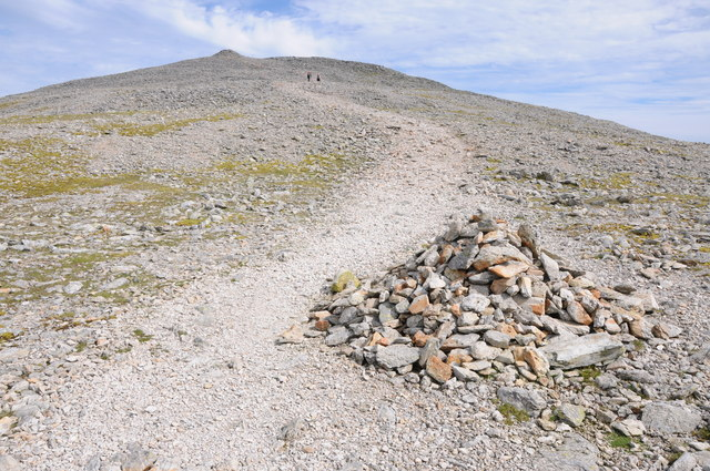 Cairn and path on Carnedd Dafydd