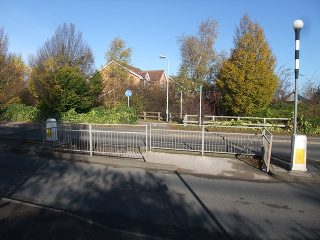 Cycle Route 6 crossing Waterloo Road, Linby
