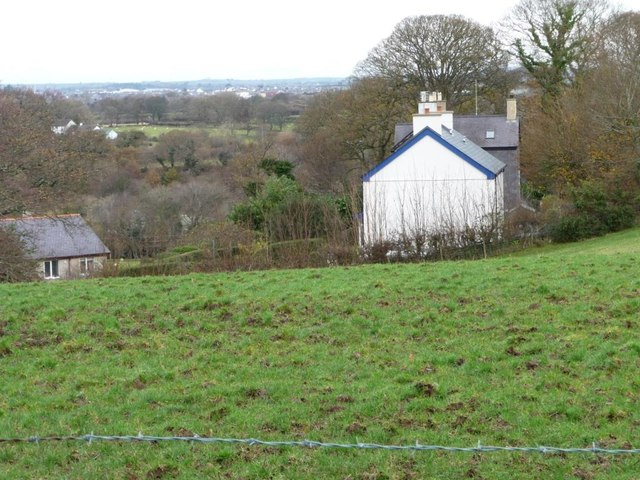 Houses on the eastern edge of Bontnewydd