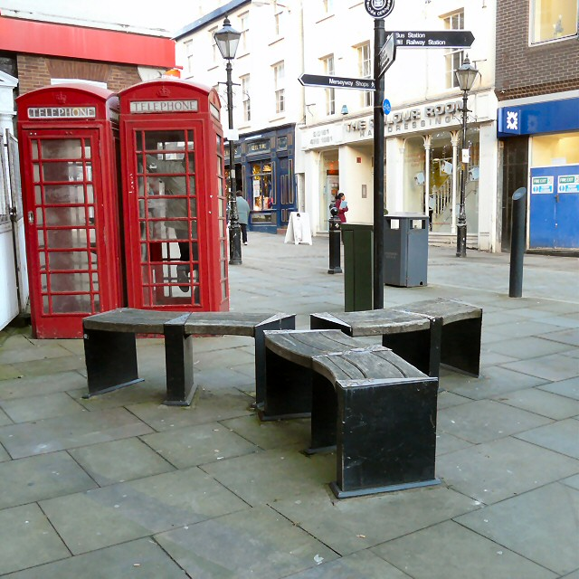 Benches and listed phone boxes