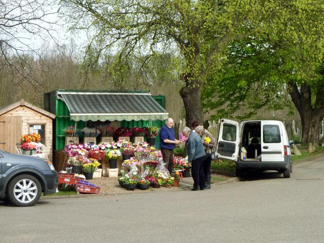 Cemetery flower seller