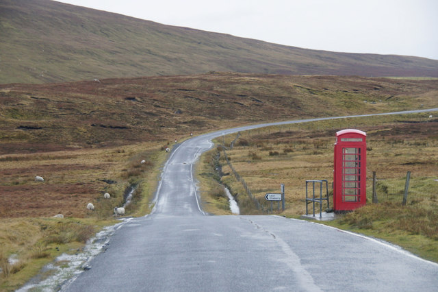 Isolated telephone box south of Collafirth