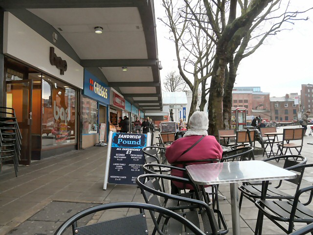 Tables and chairs on Mersey Square