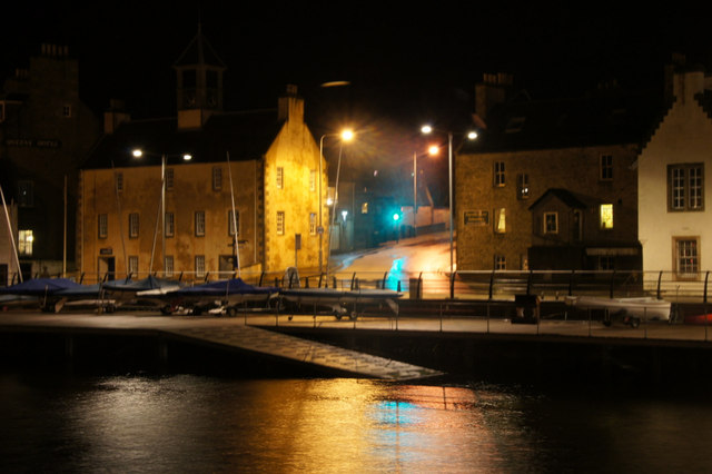 Small boat harbour, Lerwick, at night