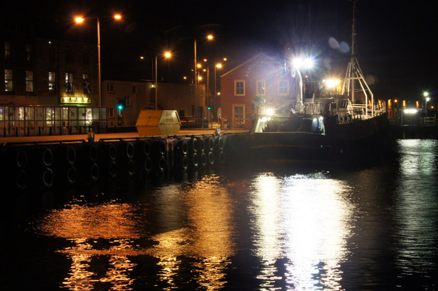 Fishing boat in Albert Dock, Lerwick, at night